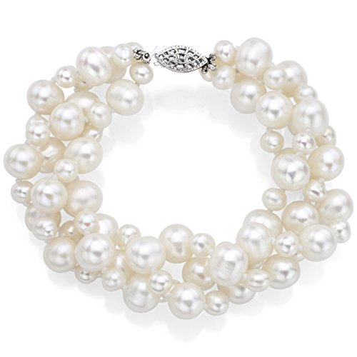 Sterling Silver 4-4.5mm and 8-8.5mm White Freshwater Cultured Pearl Twisted 3-rows Bracelet, ()