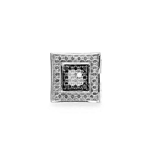 Dazzlingrock Collection 0.03 Carat (ctw) 14K White & Black Round Diamond Micro Pave Kite Stud Earring (1pc), White Gold