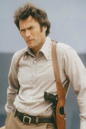 Clint Eastwood in Dirty Harry Iconic Portrait with Gun Holster Smith & Wesson 44 Magnum 24x36 Poster
