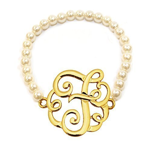 [F] Handmade Gift Initial Monogram with Pearl Stretch Bracelet - Pearl Initial Bracelet