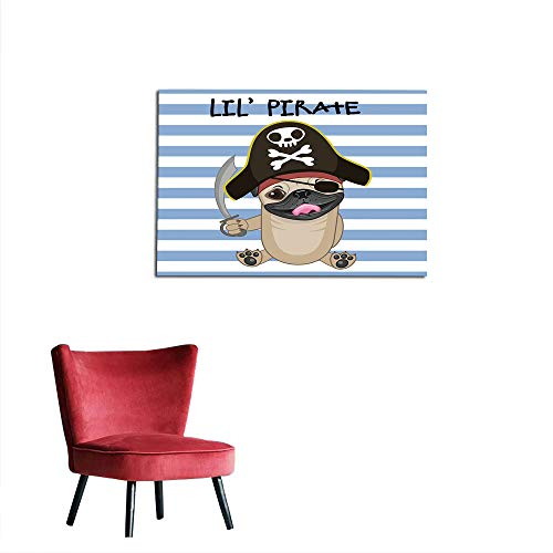 kungfu Decoration Photographic Wallpaper Pirate,Buccaneer Dog in Cartoon Style Costume Lil Pirate Striped Backdrop Funny Animal,Multicolor The Office Poster W23.6 x L15.7