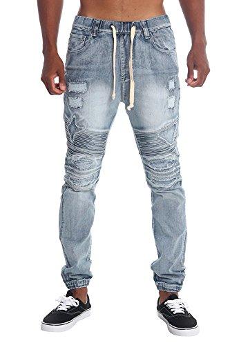 Victorious Distressed Biker Denim Jogger Pants JG870 - LT. INDIGO - Large Twill Pants Jeans
