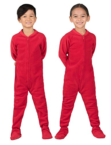 Footed Pajamas - Bright Red Toddler Fleece - Extra Large
