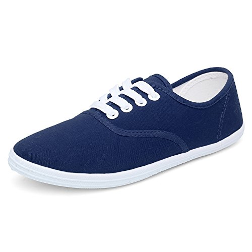 CIOR Women Lace up Canvas Shoes Casual Round Tote Classic Sneakers Original Lightweight Soft F.navy