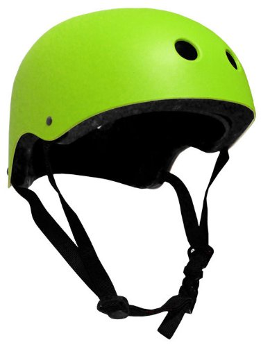 Krown Neon Green Shell with Black Strap Skateboard Helmet, One Size