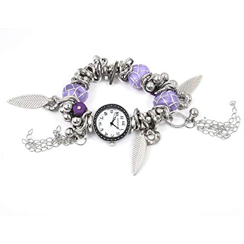 Japanese Movement Resin Purple Stone Chips Black Oxidized Water Resistant Multi-Charm Bracelet Watch in Silvertone with Stainless Steel Back 6-7