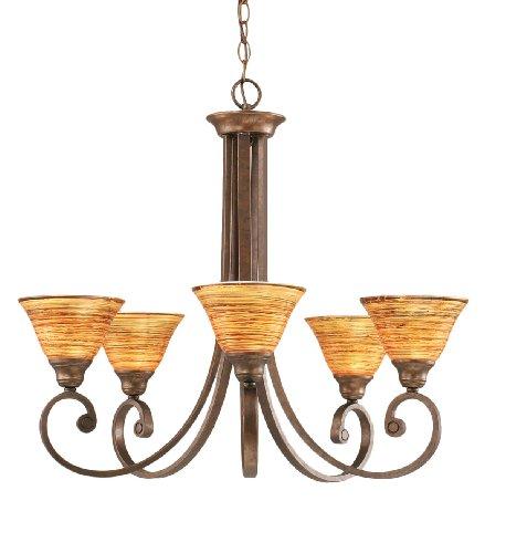 Toltec Lighting 255-BRZ-454 Curl Five-Light Uplight Chandelier Bronze Finish with Firré Saturn Glass Shade, - 5 Uplight Chandelier Light