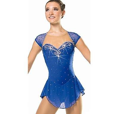 New Vestito da Pattinaggio Artistico per Donna da Ragazza Pattinaggio sul Ghiaccio Vestiti Blu con Diamantini Paillettes Elevata elasticit/¨/¤ W/&G