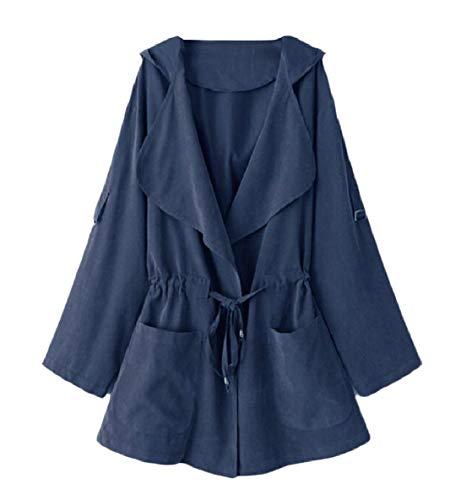 Donne Blu Felpa Trench Tasche Dettaglio Gira giù Merletto Up Xinheo Coat vFvqwr