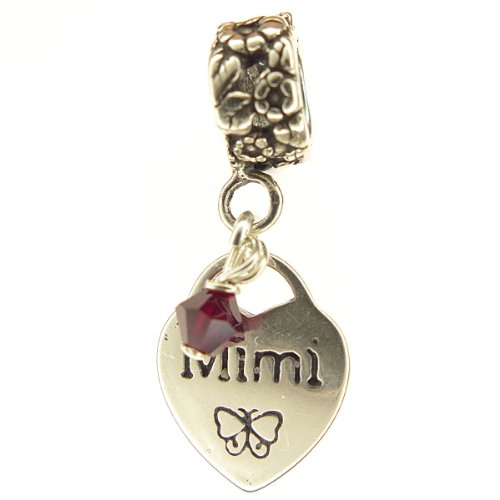 Mimi Heart with Garnet Crystal January Birthstone Small Sterling Silver Dangle Family Charm