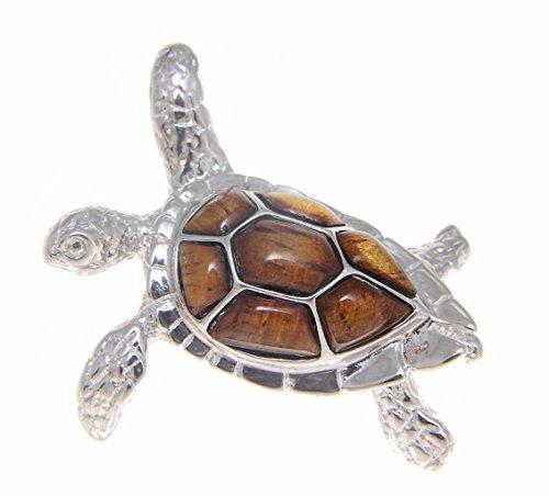 Genuine inlay Hawaiian koa wood sea turtle slider pendant sterling silver 925 large 33mm