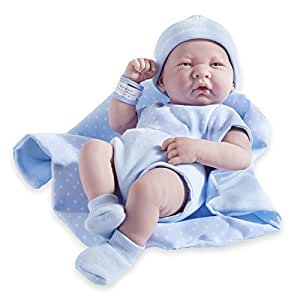 JC Toys Berenguer Boutique La Newborn 14-Inch Life-Like Real Boy Doll 9 Piece Gift Set, Blue