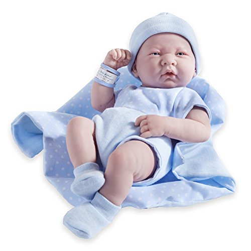 JC Toys Berenguer Boutique La Newborn 14-Inch Life-Like Real Boy Doll 9 Piece Gift Set, Blue