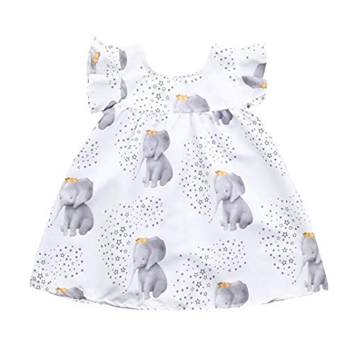 (Toddler Infant Baby Girls Dress Sleeveless Stars and Elephant Print Princess Party Dresses Outfits (9-12 Months,)