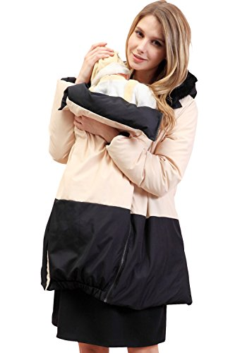 Sweet Mommy Maternity and Babywearing Reversible Down Coat Black, S (Maternity Coat Petite)