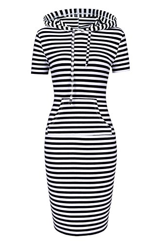 Women Hooded Sweatshirt Pullover Stripe Keen Length Kangaroo Pocket Sports Dress(XL, Black White Short (Black And White Stripe Dress)