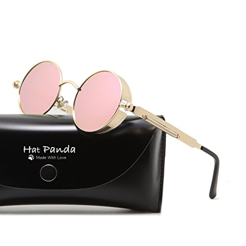 Round Polarized Steampunk Sunglasses Gothic John Lennon Sunglasses For Men And Women (Gold & Mirrored Pink, - Sunglass Panda