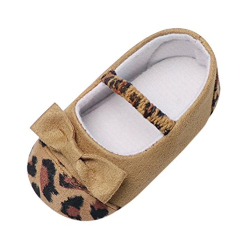 Moonker Baby Shoes,Toddler Infant Baby Girl Leopard Bow Crib Shoes Soft Sole Anti-Slip Single Shoes 0-18M (0-6 Months, Brown)