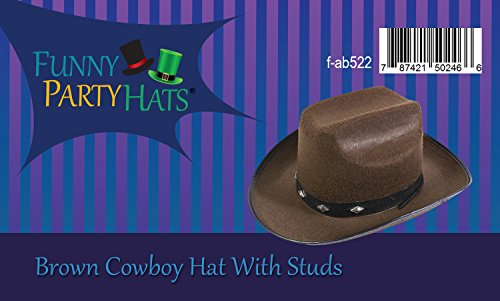 12a3d4e4061 Cowboy Hat With Studs - Brown Western Cowgirl Hats Funny Party Hats