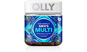 OLLY The Perfect Mens Gummy Multivitamin, 45 Day Supply (90 Gummies), BlackBerry Blitz, Vitamins A, C, D, E, B, Lycopene, Zinc, Chewable Supplement