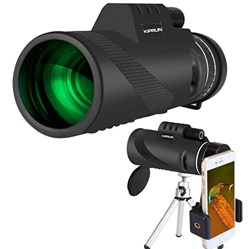 KIPRUN Monocular Telescope,40x60 High Powered Monocular Scope with Phone Adapter and Tripod, Waterproof BAK4 Prism FMC Lens.Single Hand Focus for Outdoor, Bird Watching, Hunting, Camping, Travel.