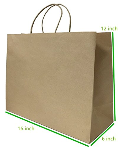 Metrogalaxy Premium Kraft Paper Bag 16 ' X 6 ' X 12 ', Brown, 12 PC Gift Shopping Bag, Grocery Shopping, Recycle Twisted Handle Bags