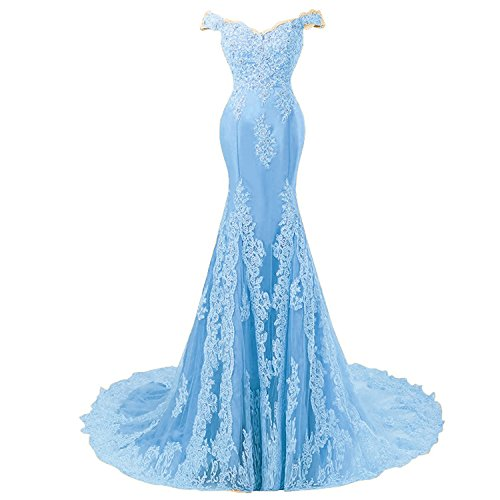 Off Shoulder Mermaid Long Lace Beaded Prom Dress Corset Evening Gowns Sky Blue US 4