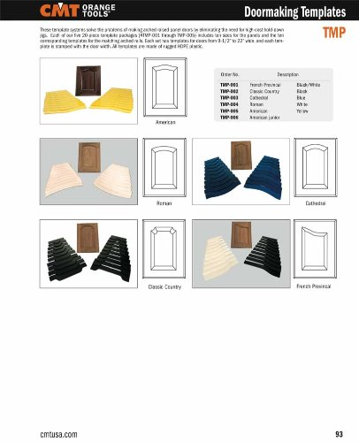 CMT TMP-005 Sommerset Doormaking Router Template Set