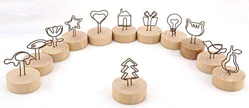 Desktop Memo Clip - NXG 12 Pack Wood Creative Photo Holder, Wood Base with Metal Funny Clip Desktop Decoration, Memo Holder Stand, Tabletop Card Holder, Creative Gifts