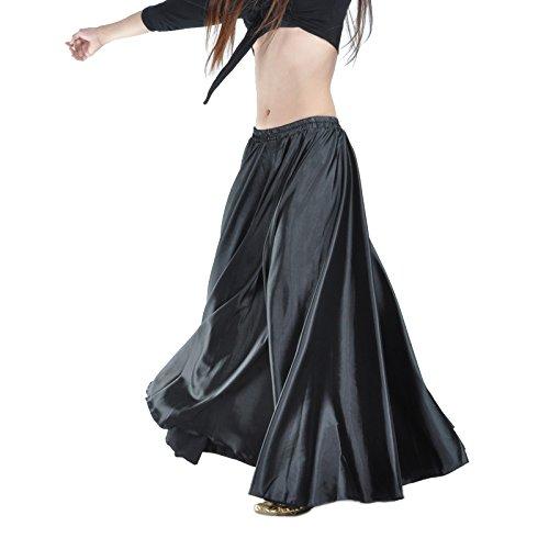 Swing Costumes (Calcifer Satin Long Swing Belly Dance Skirt Costume Dancing Dress Dancewear For Women Professional Dancer (Black))