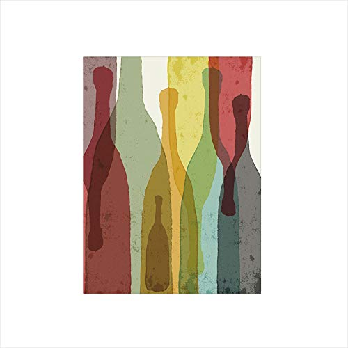 Decorative Privacy Window Film/Abstract Composition with Watercolor Silhouettes Bottles of Wine Whiskey Tequila Vodka Decorative/No-Glue Self Static Cling for Home Bedroom Bathroom Kitchen Office Deco