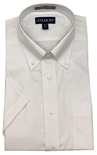 Damon Pinpoint Oxford Button Down Collar Short Sleeve Dress Shirt (White, 17.5
