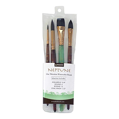 Princeton Artist Brush, Neptune Synthetic Squirrel, 4750 4-Piece Set 300 ()
