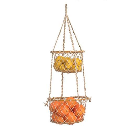 Indoor Storage Basket -Prairie - 2 tier Hanging Macrame Basket by FAB