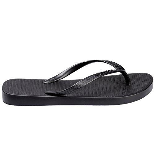 Hotmarzz Chanclas para Mujer Sandalias Playa Verano Piscina Ducha Boda Casa Flip Flops Negro