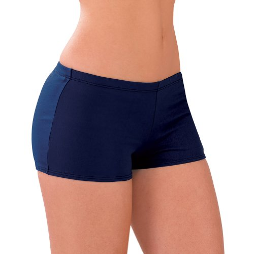Nylon Bloomers (100% Stretch Nylon Low-Rise Boy Cut Brief Trunks, AS, Navy Blue)