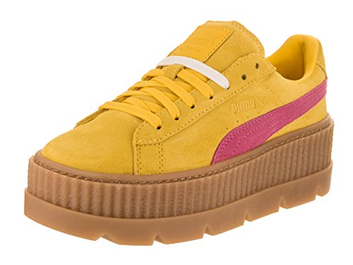 PUMA Women's Cleated Creeper Suede Ankle-High Fashion Sneaker Lemon / Carmine-vanilla Ice