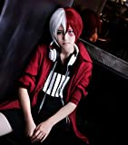 Anogol Hair Cap + Short Red Cosplay Wig Silver