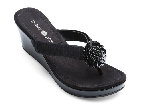 Black Suedecloth - Lindsay Phillips Nicole Black Patent Size 10 Switchflops Women's Wedge