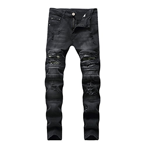 JOSONEY Men's Black Ripped Slim Fit Moto Biker Jeans Distressed Stretch Jeans with Camo Patches 30