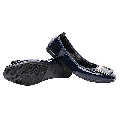 Boucle rismart Enfiler Square Chaussures Femmes Bleu Plates Pompes Ballerines OfPfpnqwB