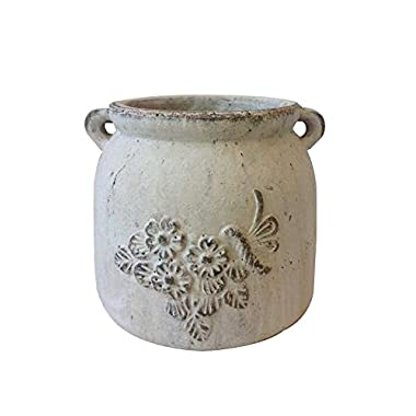 Newly Designed Heavy Hand Pressed Ancient Stressed Terracotta Vintage White Round Flower Pot or Planter with Loop Handles Forming a Water Jug with Embellished flowers and Dragonfly Weighs 8 Pounds
