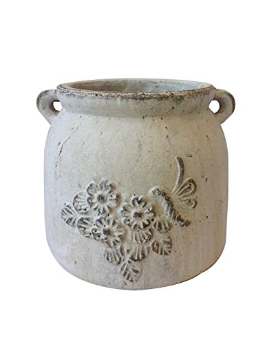 Newly Designed Heavy Hand Pressed Ancient Stressed Terracotta Vintage White Round Flower Pot or Planter with Loop Handles Forming a Water Jug with Emb…