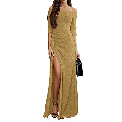 Ulanda Womens Elegant Cocktail Maxi Dress Off Shoulder Ruched Metallic Knit High Slit Evening Party Cocktail Dress
