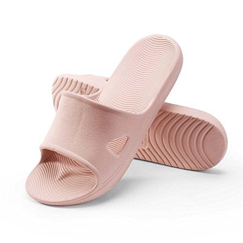 WILLIAM&KATE Men-Women Flat Bath Slippers Summer Sliders Sandals Beach Shower Shoes Anti Slip Indoor&Outdoor Home Slippers-Rubber Pink-3