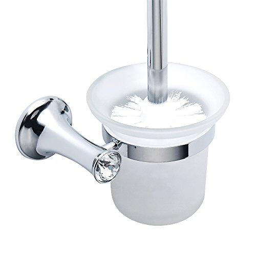 Alise GML405 Toilet Brush with Holder Toilet Scrubber Wall Mount,Polished Chrome Finish (Toilet Chrome Holder And Brush)