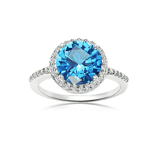 Sterling Silver Simulated Blue Topaz and Cubic Zirconia Round Halo Ring, Size 10 (Blue Topaz Ring Size 10)