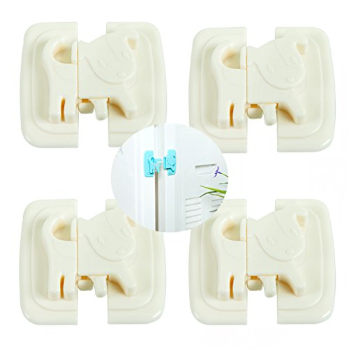 Bluexury 4 Pcs Baby Safety Cabinet Locks - Creative Cartoon Puppy Child Proof Latches - Best for Baby Proofing Cabinets, Sliding Door, Fridge and Drawers ()