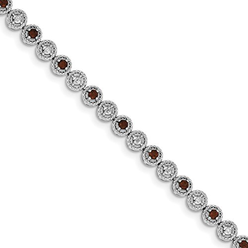 ICE CARATS 925 Sterling Silver Red Garnet Diamond Bracelet 7 Inch Gemstone Fine Jewelry Gift Set For Women Heart by ICE CARATS (Image #1)