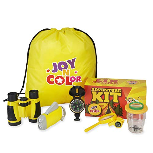 Joy N Color Adventure Kit for Kids - Binoculars, Flashlight, Whistle, Magnifying Glass, Bug Container, Compass, Backpack - Kids Adventure Kits for Young Explorers - Outdoor Exploration in Nature